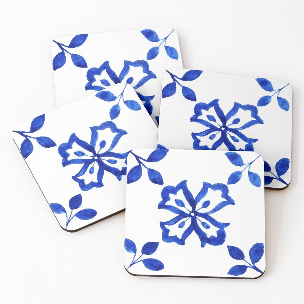 Azulejo Portuguese Tile Watercolor Artwork 9 Coasters (Set of 4)