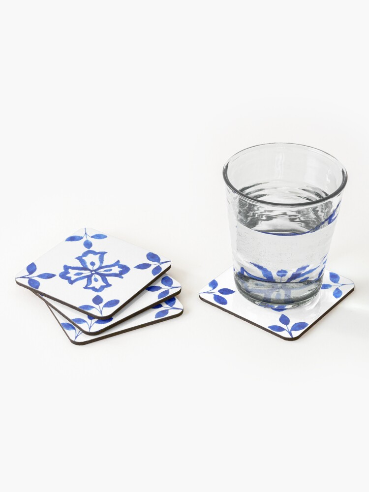 Alternate view of Azulejo Portuguese Tile Watercolor Artwork 9 Coasters (Set of 4)