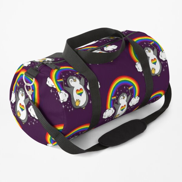 Rainbow Penguin With Rainbow Flag Duffle Bag