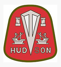 Hudson classic automobiles red logo remake Photographic Print