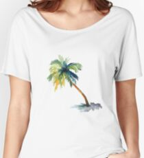 Watercolor palm tree Women's Relaxed Fit T-Shirt
