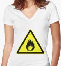 Fire Hazard Symbol Women's Fitted V-Neck T-Shirt