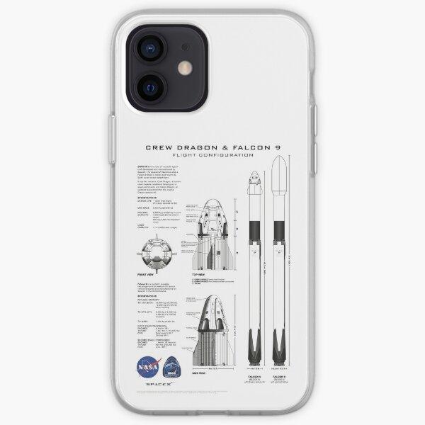Plan du vaisseau spatial NASA SpaceX Crew Dragon et de la fusée Falcon 9 en haute résolution (blanc) Coque souple iPhone