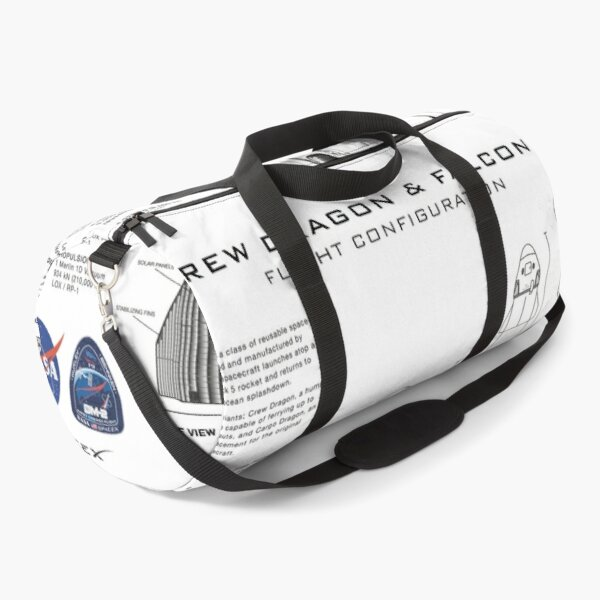 NASA SpaceX Crew Dragon Spacecraft & Falcon 9 Rocket Blueprint in High Resolution (white) Duffle Bag