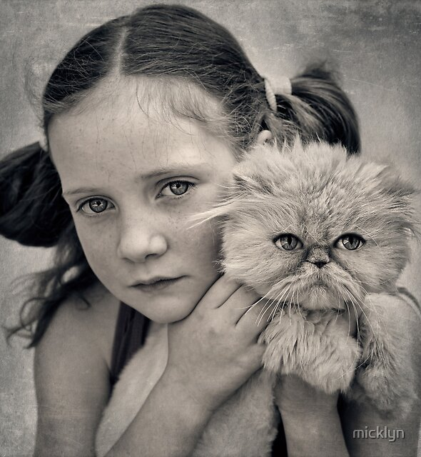 A Girl and her Cat by micklyn