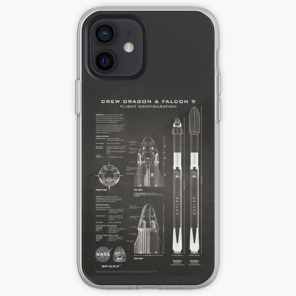 NASA SpaceX Crew Dragon Spaceship & Falcon 9 Rocket Blueprint en haute résolution (noir) Coque souple iPhone