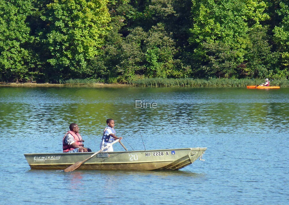 Out fishing with dad by Bine