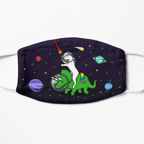 Unicorn Riding Triceratops In Space Mask