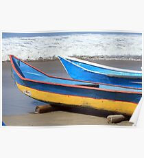 Two Wooden Fishing Boats Poster