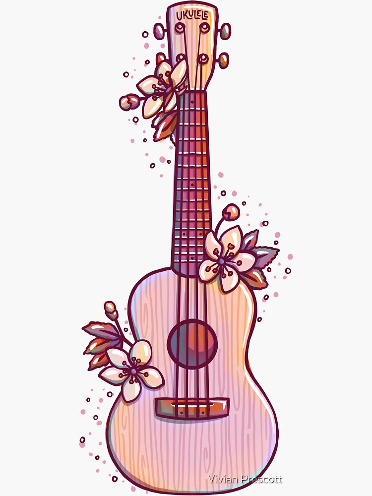 Pink and Cream Cherry Blossom Ukulele by vprescottdesign