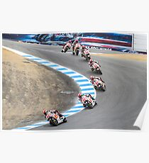 Marco Simoncelli going down the corkscrew at laguna seca 2011 Poster