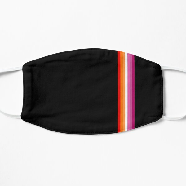 Sunset lesbian flag with thin vertical stripes Mask