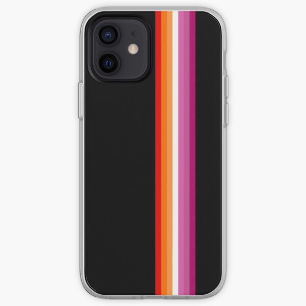 Sunset lesbian flag with thin vertical stripes iPhone Soft Case