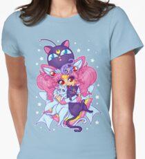 Sailor Mini Moon & Space Kitties Women's Fitted T-Shirt