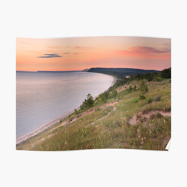 Pink Sunset on Sleeping Bear Dunes from Empire Bluff Poster
