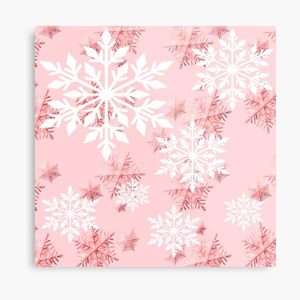 Warm Peach Snowflake Metal Print