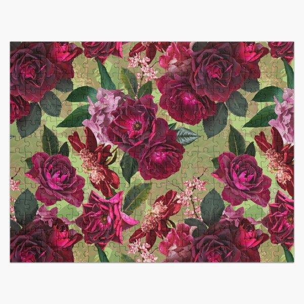 Antique Green Botanical Flower Rose Garden Jigsaw Puzzle