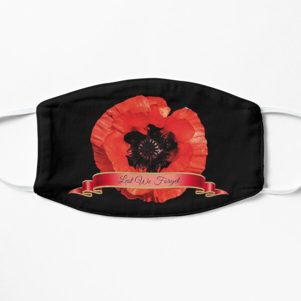 Lest We Forget / Red Poppy Flower  Flat Mask