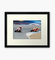 Marco Simoncelli and Valentino Rossi at laguna seca 2011 Framed Print