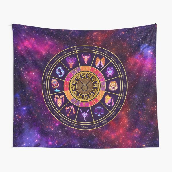 Taurus Zodiac Lightburst - Circle Tapestry
