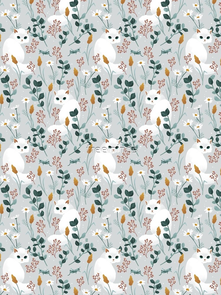 Cat in the meadow pattern by freeminds