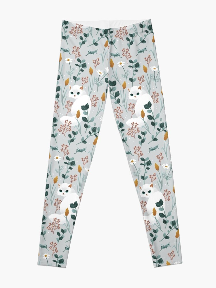 Alternate view of Cat in the meadow pattern Leggings