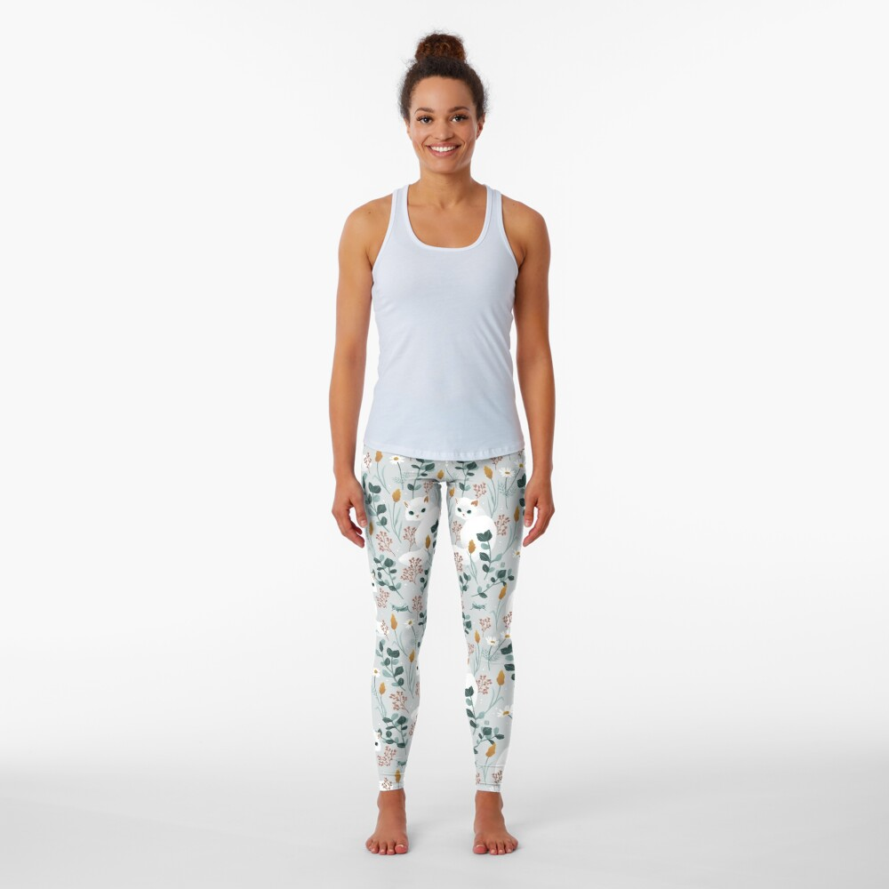 Cat in the meadow pattern Leggings