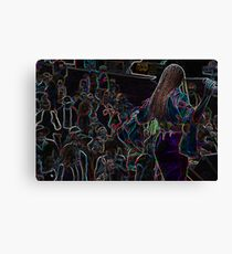 Neon Band, Singer Chick Canvas Print