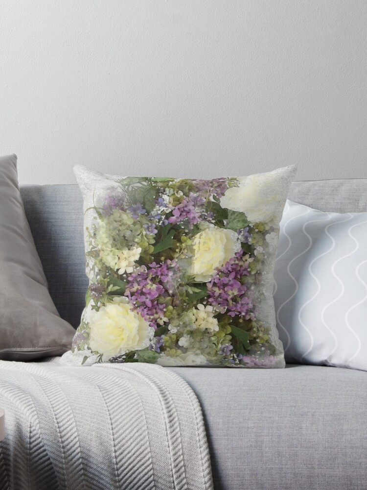 All Kinds Of Lovely A Watercolour Floral Bouquet Of Cream Roses And Purple Flowers Throw Pillow By Elainehickling Redbubble