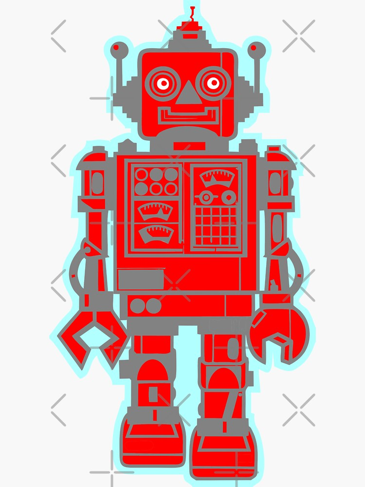 Red Robot Stickers and T-Shirts by stickysterscom