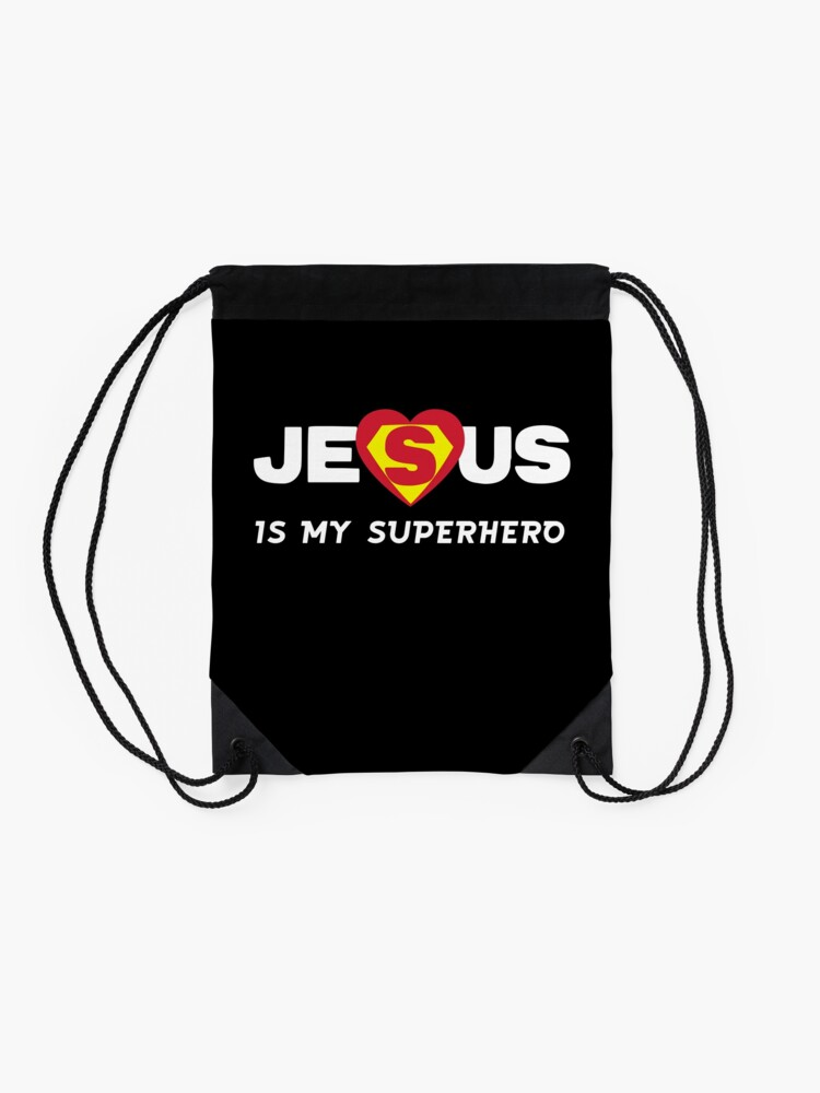 Alternate view of Jesus is my Superhero Drawstring Bag