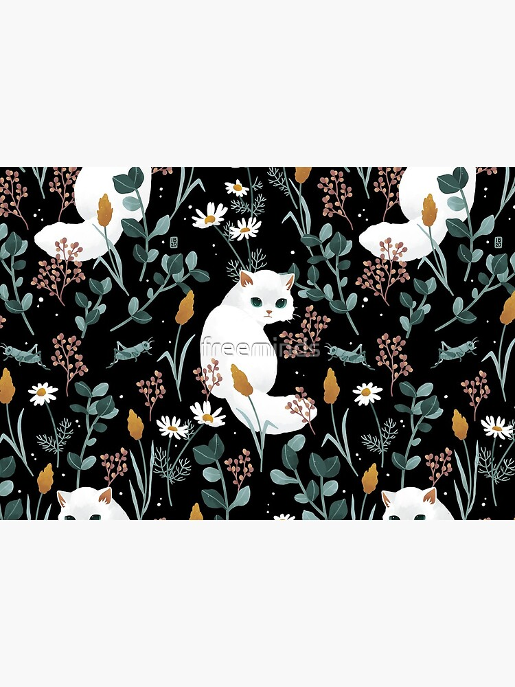 Cat in the meadow pattern 2 by freeminds
