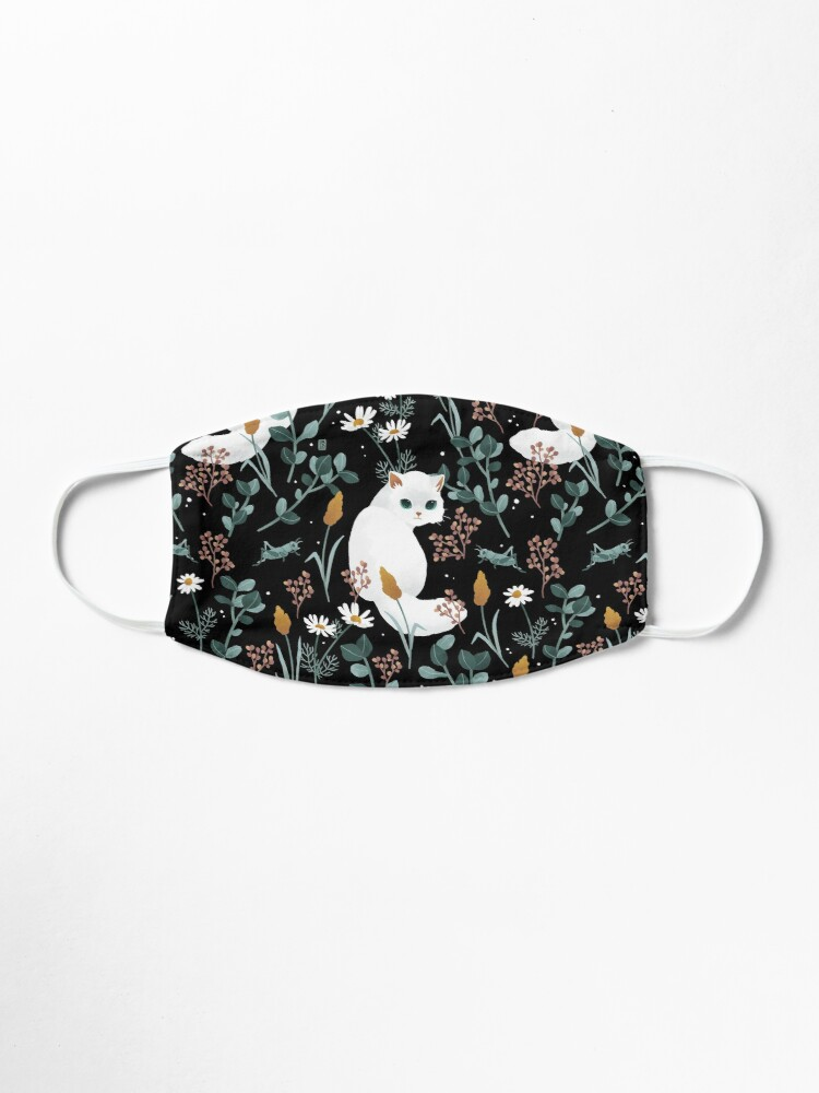 Alternate view of Cat in the meadow pattern 2 Mask