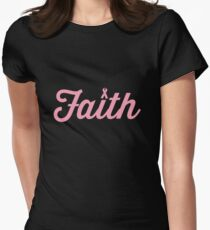 Faith Pink RIbbon Womens Fitted T-Shirt