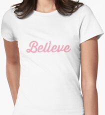 Believe Pink Ribbon Womens Fitted T-Shirt