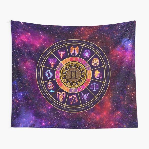 Gemini Zodiac Lightburst - Circle Tapestry