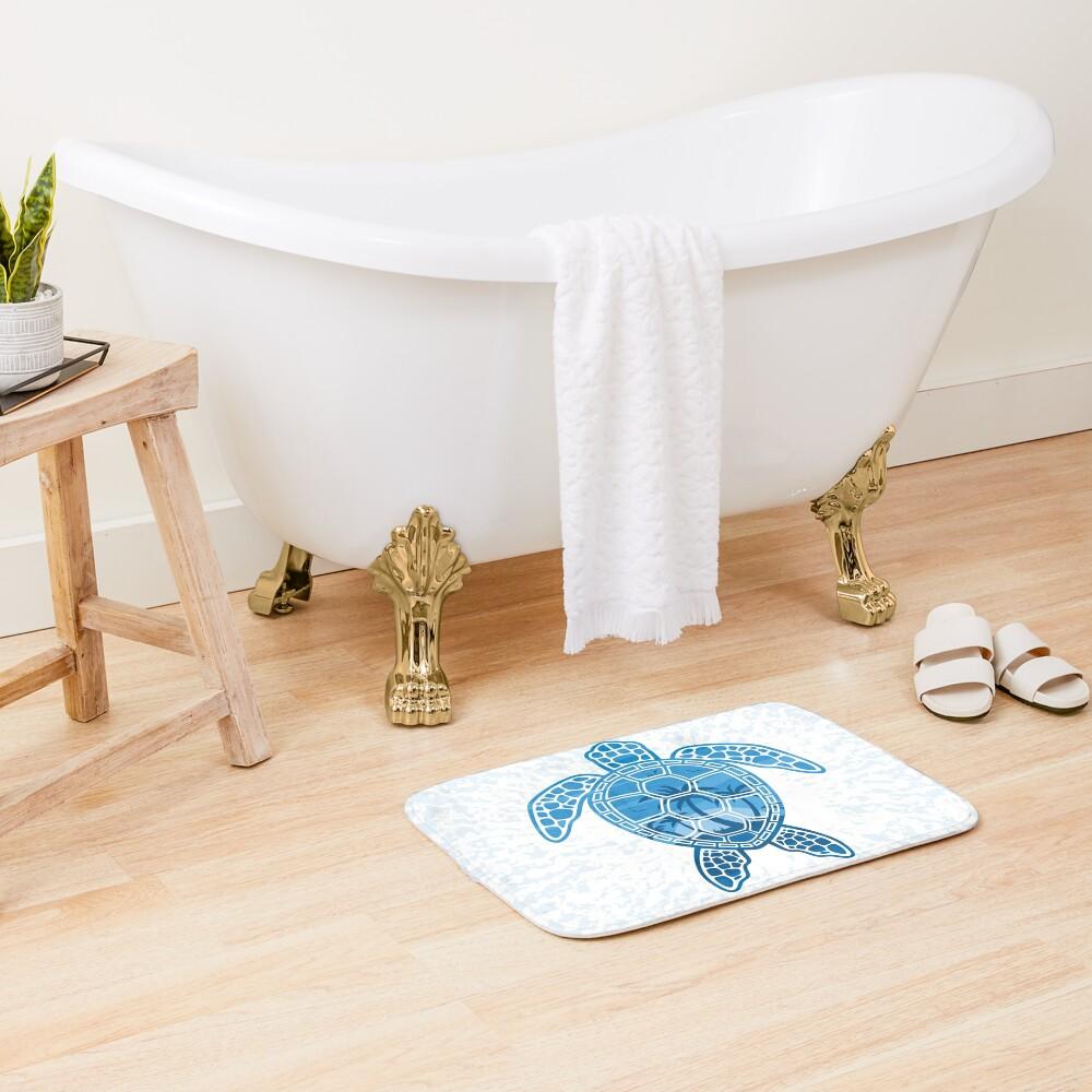 Tropical Island Sea Turtle Design in Blue Bath Mat