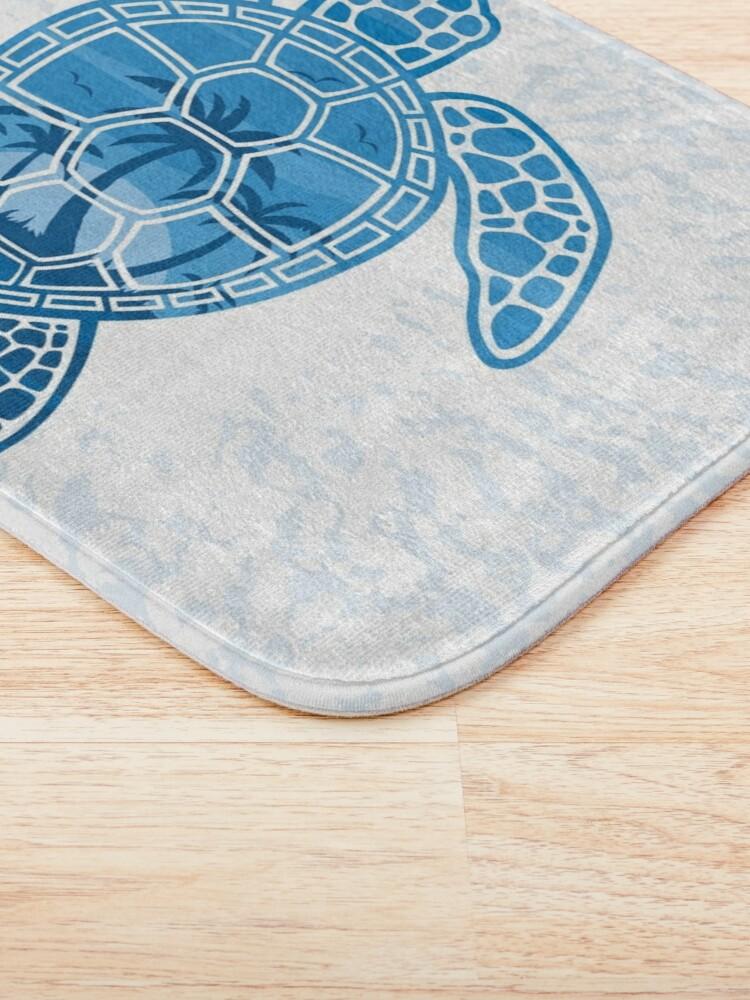 Alternate view of Tropical Island Sea Turtle Design in Blue Bath Mat