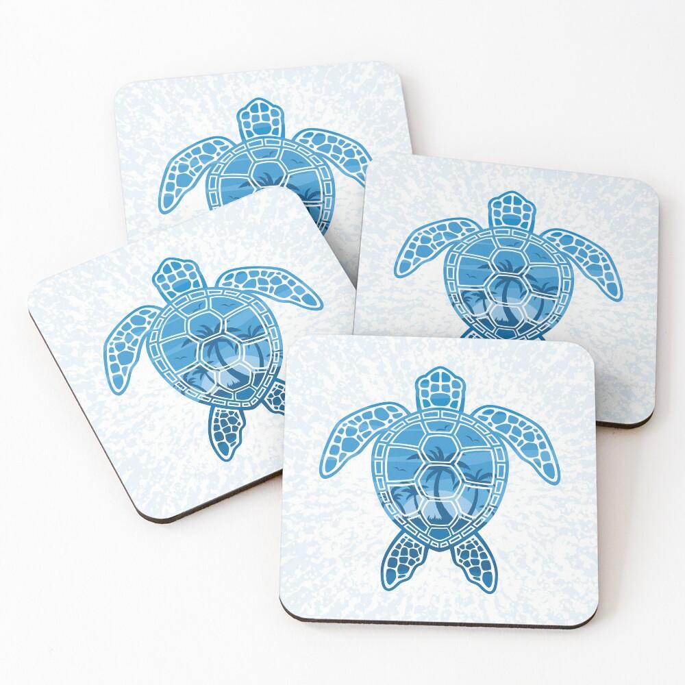 Tropical Island Sea Turtle Design in Blue Coasters (Set of 4)