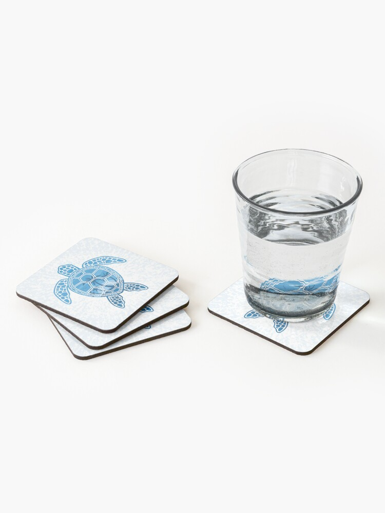 Alternate view of Tropical Island Sea Turtle Design in Blue Coasters (Set of 4)