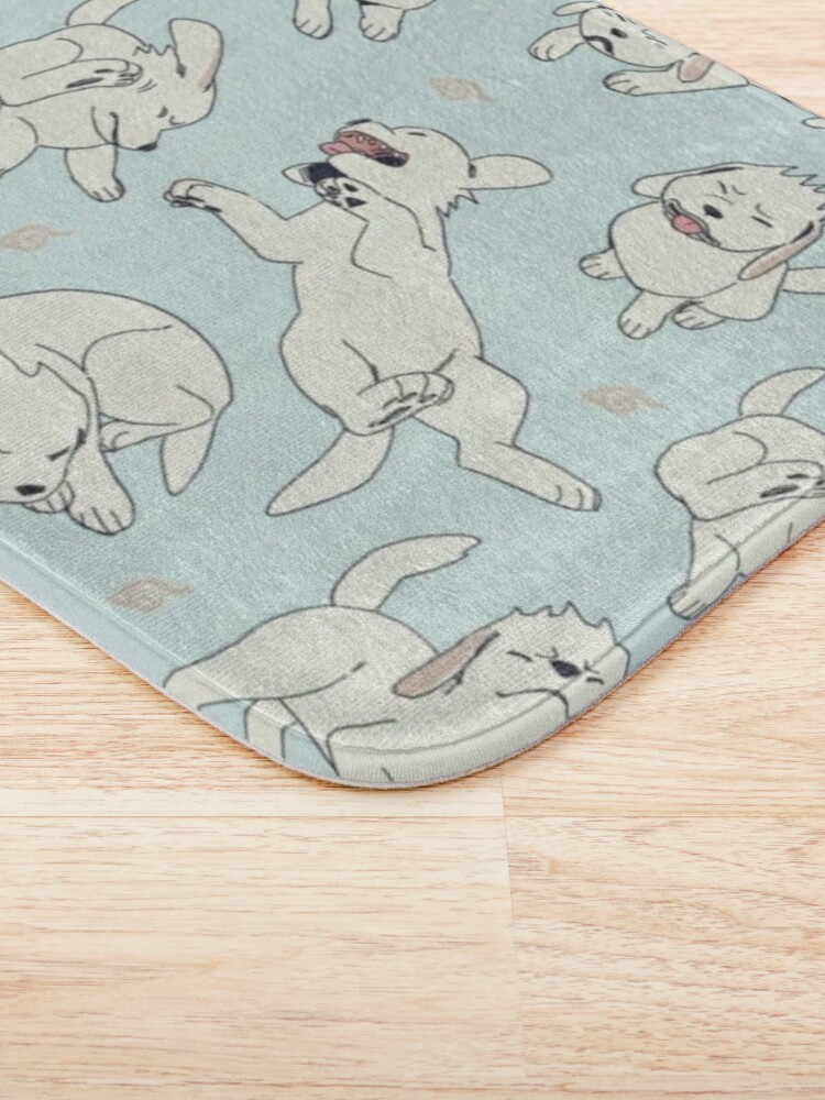 Alternate view of White Dog (Akamaru) pattern Bath Mat