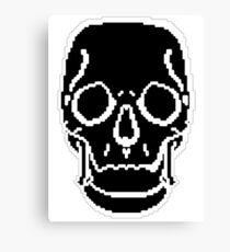 Pixel Skull Black Canvas Print