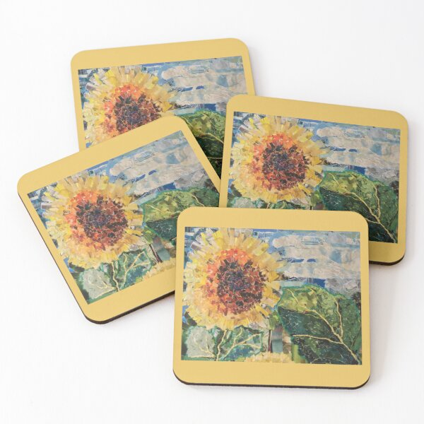 Sunflower on a Cloudy Day Coasters (Set of 4)