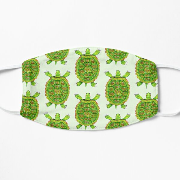 Psychedelic Green and Red Box Turtle in Acrylic Flat Mask