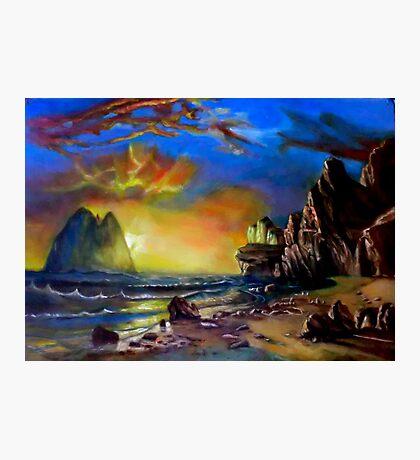 sunset on the coast after Albert Bierstadt Photographic Print
