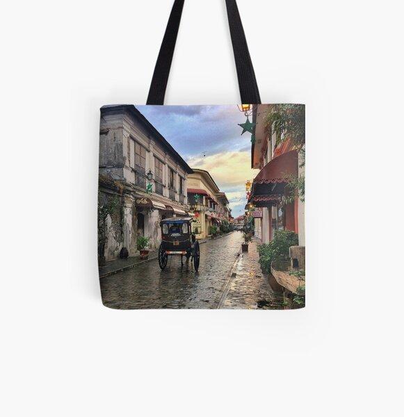 Cobblestone Old City All Over Print Tote Bag