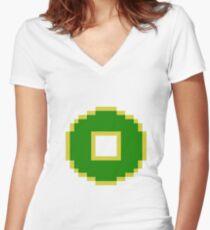 8bit Earth Kingdom Emblem - 3nigma Women's Fitted V-Neck T-Shirt