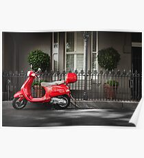 Red Vespa Poster