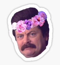 Ron Swanson Flowercrown Sticker