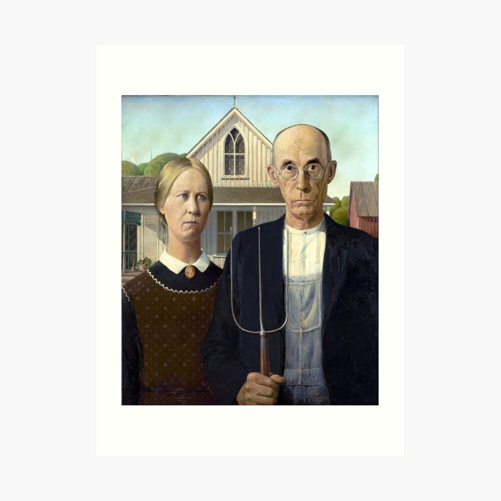 Ikonische amerikanische Gotik von Grant Wood Kunstdruck